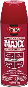 Krylon K09112000 COVERMAXX Spray Paint, Gloss Cherry Red, 12 Ounce