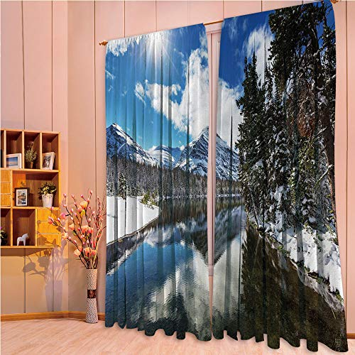 ZHICASSIESOPHIER Modern Style Room Darkening Blackout Window Treatment Curtain Valance for Kitchen/Living Room/Bedroom/Laundry,National Park in Montana Water Reflection Quiet 108Wx84L Inch