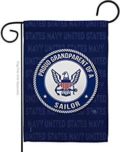 Breeze Decor Proud Grandparent Sailor Garden Flag Armed Forces Navy USN Seabee United State American Military Veteran Retire Official House Banner Small Yard Gift Double-Sided, Made in USA
