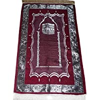 Islam Prayer Rug Muslim Sajadah Lightweight Carpet Al Kabah Home Decoration - Red