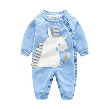 470eb2ddc Baby Winter Jumpsuit Boys Girls Rompers Knitted Overalls Unicorn ...