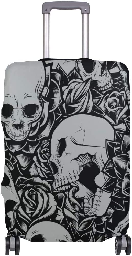 FOLPPLY Black White Skull Pattern Luggage Cover Baggage Suitcase Travel Protector Fit for 18-32 Inch