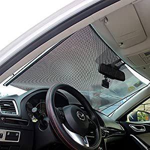 LOCEN Car Windshield Sunshades Front Windows Sun Shades Roller UV Protection for Children 58 cm