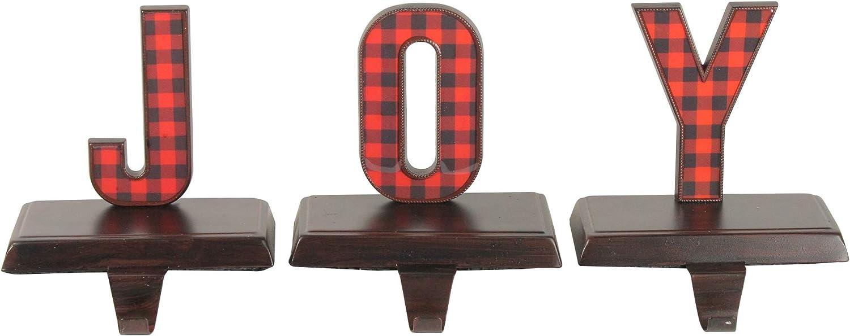 Northlight Set of 3 Red and Black Buffalo Plaid Joy Christmas Stocking Holder 6