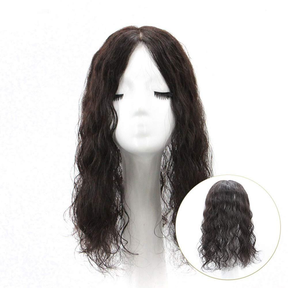 Yrattary 女性の長い巻き毛のふわふわナチュラルクリップで人間の髪の毛のカバー白髪交換ピース女性の合成かつらレースかつらロールプレイングかつら (色 : [9x14] 25cm natural black) B07SF5NF6Y [9x14] 25cm natural black