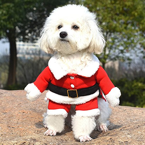 Bolbove Pet Christmas Santa Claus Suit Costume for Small Dogs Cats Jumpsuit Winter Coat Warm Clothes - coolthings.us