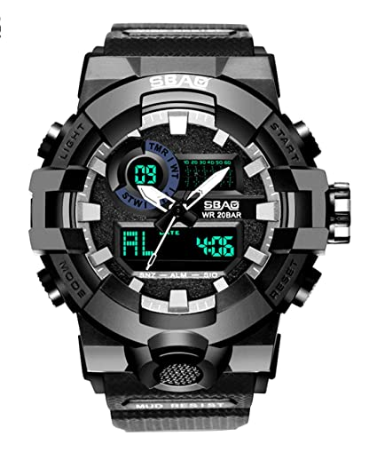 SBAO - Reloj para Hombre Impermeable Estudiante Relojes de Pulsera Multifuncionales de Moda Lujo con Luz LED Alarma con Doble Horario: Amazon.es: Relojes