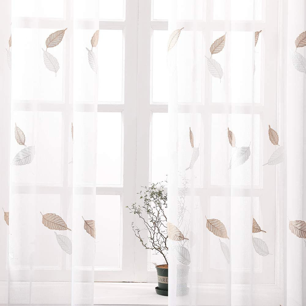 MIULEE Cortina Bordado Translucida de Dormitorio Moderno Ventana Visillos Rayas Salon Paneles con Ojales Plateados para Sala Cuarto Comedor Salon Cocina Habitaci/ón 140x145cm Hoja De Arce Marr/ón