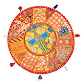 Christnas Gift Bohemian Round Floor Cushion,Traditional Vintage Indian Pouf Floor/Foot Stool, 100% Cotton Art Decor Cushion, Only Cover, Filler not Included