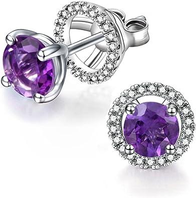 and Amethyst Earring Jacket Jewelry Birthstone Earrings Sterling Silver Rhodium Diam