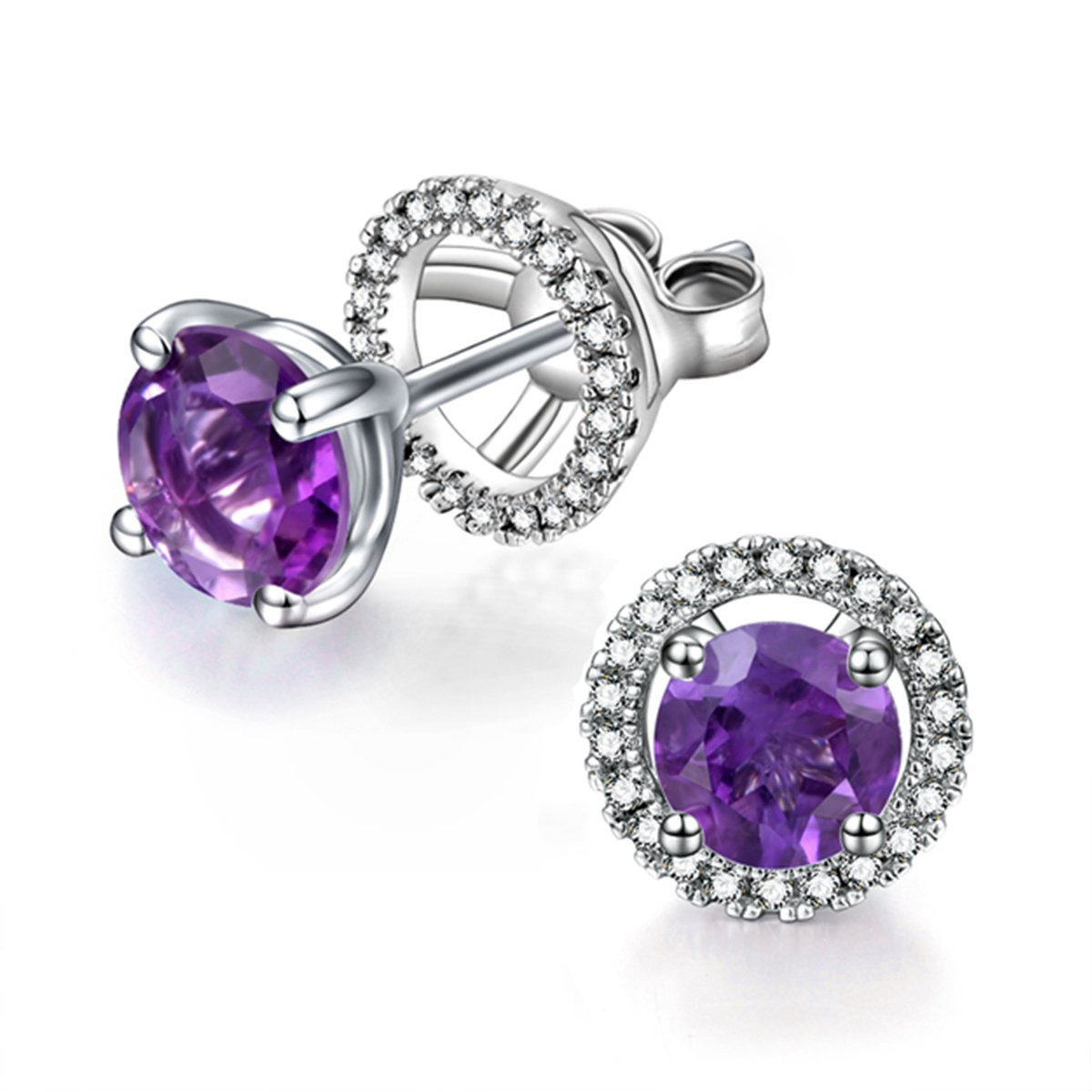 925 Silver February Birthstone Amethyst Removable Earring Jacket Studs CZ Halo for Women Girls
