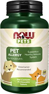 NOW Pet Health, Pet Allergy Supplement, Formulated for Cats & Dogs, NASC Certified, 75 Chewable Tablets