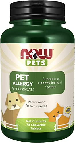 NOW Pet Health, Pet Allergy Supplement, Formulated for Cats Dogs, NASC Certified, 75 Chewable Tablets
