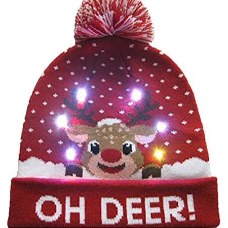 bc1d1ccd32fd2 Christmas LED Light Up Hat Beanie Knit Cap Xmas Hat Warm Knited Hat Good  Elasticity Winter Snow Hat Sweater Ugly Holiday Hat  Amazon.co.uk  DIY    Tools