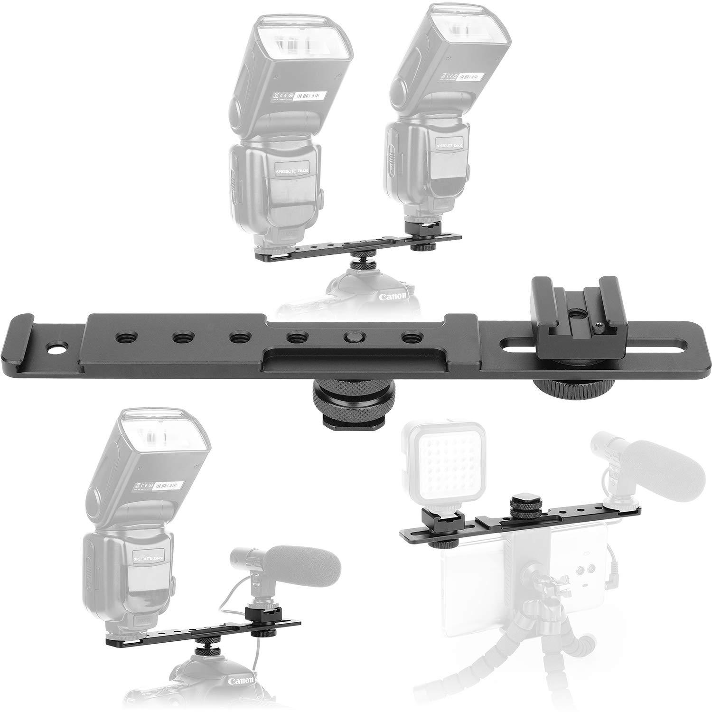 ChromLives 8'' Cold Shoe Extension Bar Flash Straight Bracket Camera Dual Mount Flash Bracket fits Nikon Canon Sony Olympus DSLR Camera Camcorder DV