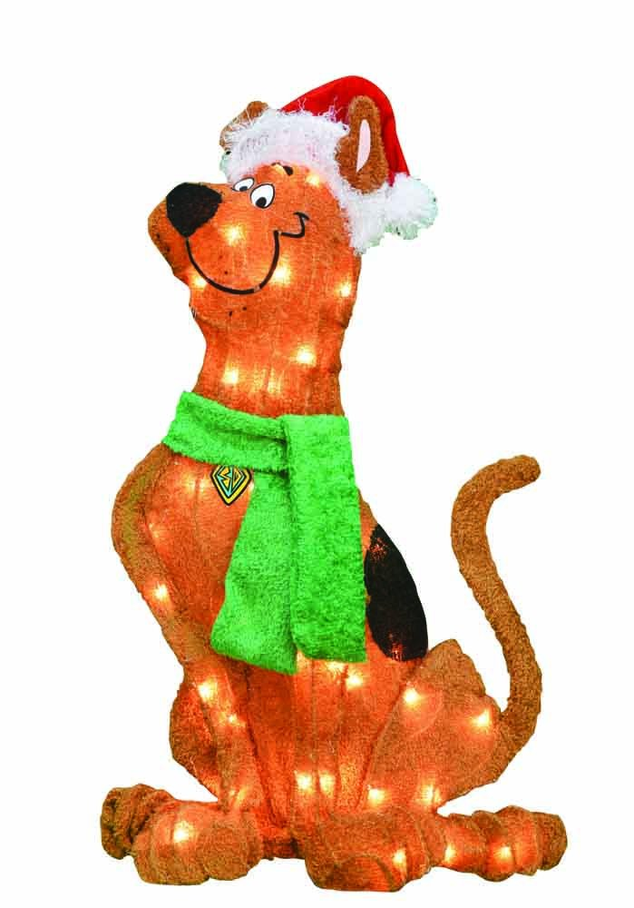 ProductWorks 90620_L2D Pre-Lit 2D Scooby Doo with Santa Hat Christmas Yard Decoration