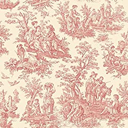 York Wallcoverings WA7829 Waverly Classics Country Life Wallpaper, Ecru / Red