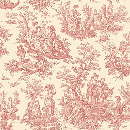 Classic Wallpaper - York Wallcoverings WA7829 Waverly Classics Country Life Wallpaper, Ecru / Red
