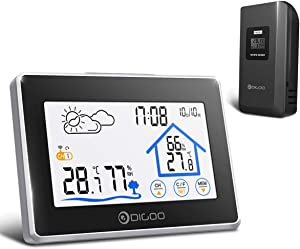 DIGOO Weather Stations Wireless Indoor Outdoor Thermometer Digital Hygrometer with Wireless Sensor, Temperature and Humidity Monitor, Weather Forecast Icon, Time & Date, Backlight