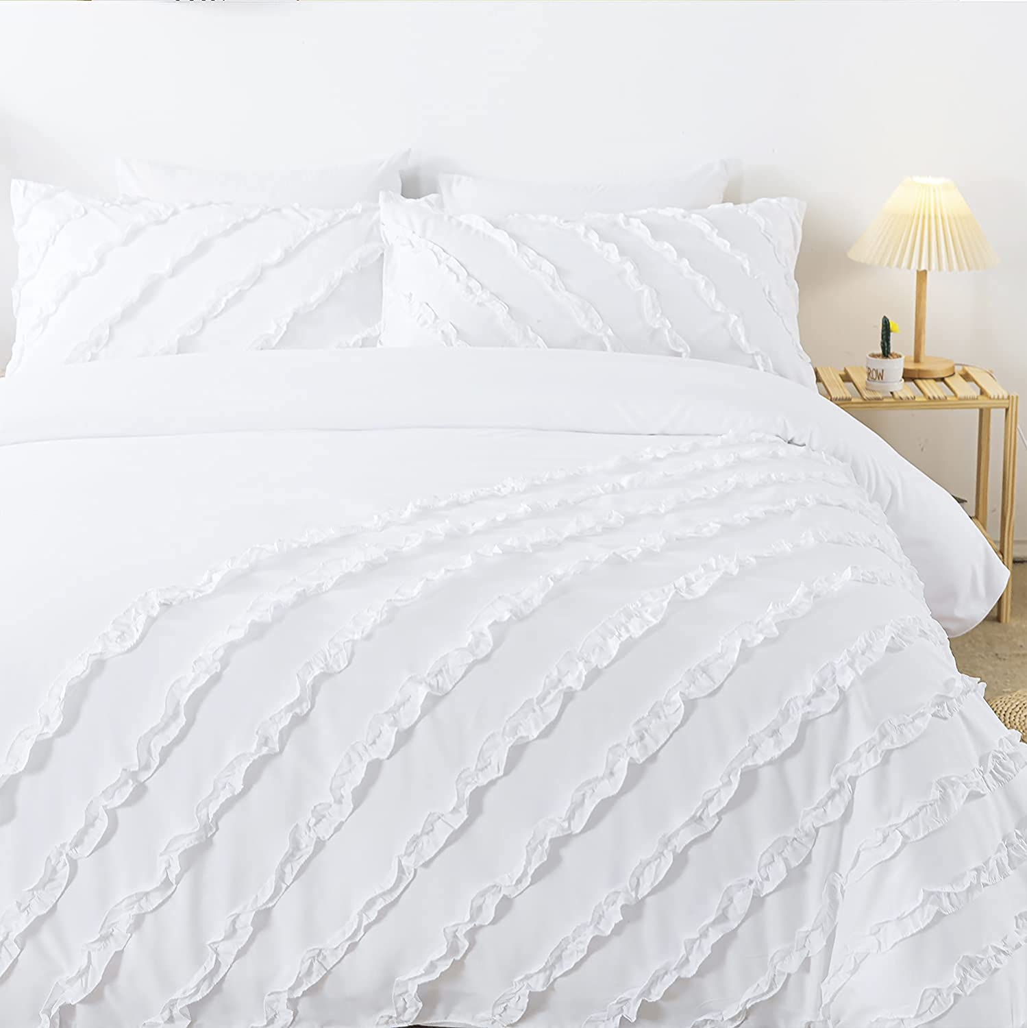 TEALP 3 Piece White King Duvet Cover, 2 Pillowcases with Zipper Corner Ties, 100% 120gsm Microfiber Duvet Cover, Luxurious Decorative, Luxury Hotel Quality Bedding