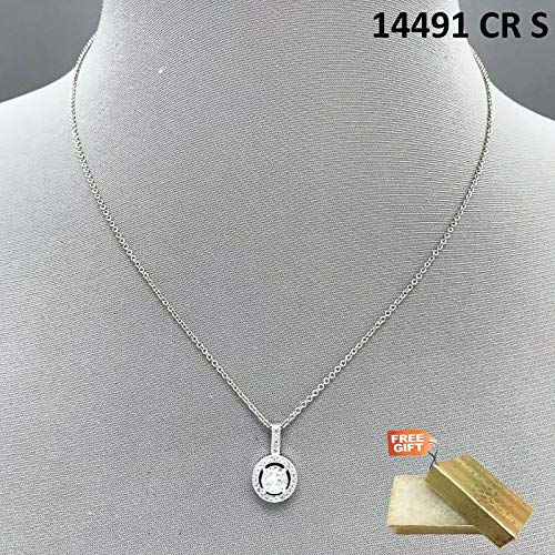 Diamond Accented Circle Pendant - Real Rhodium Plated Cubic Zirconia Accented Circle Shape Mini Pendant Necklace Set For Women + Gold Cotton Filled Gift Box for Free