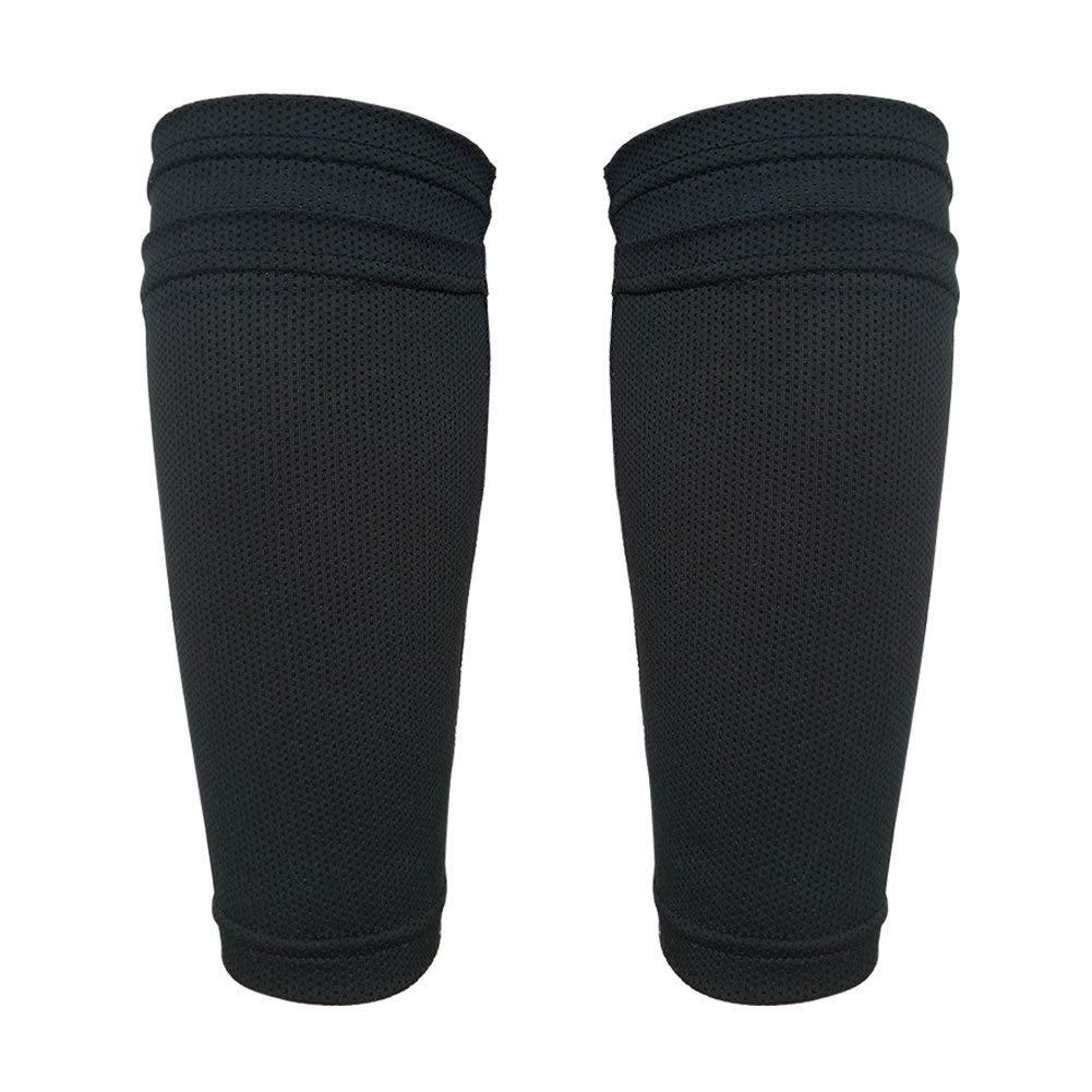 senston niños Adolescentes Fútbol Espinilleras Doble Capa Calcetines Fijo Manga Negro product image