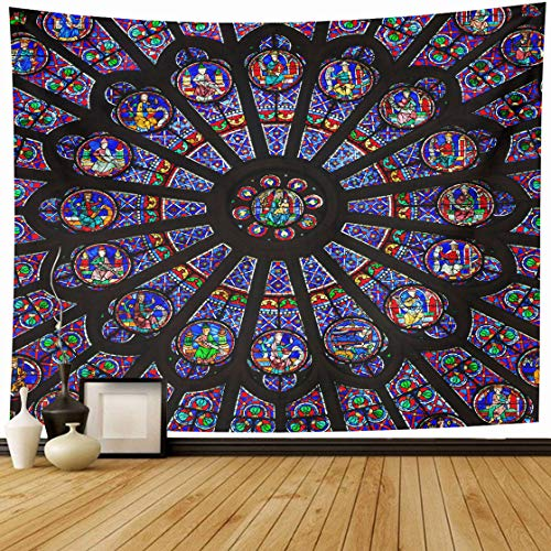 (DIYCow Tapestry Wall Decor 80 x 60 Inches Paris December North Rose Window Notre Dame Cathedral Dates from is Also Meters Tapestries Wall Hanging Home Decor for Home Office Bedroom Living Room Dorm)