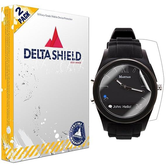 Martian Notifier Smartwatch Screen Protector [2-Pack], DeltaShield BodyArmor Full Coverage Back + Front Screen Protector for Martian Notifier ...