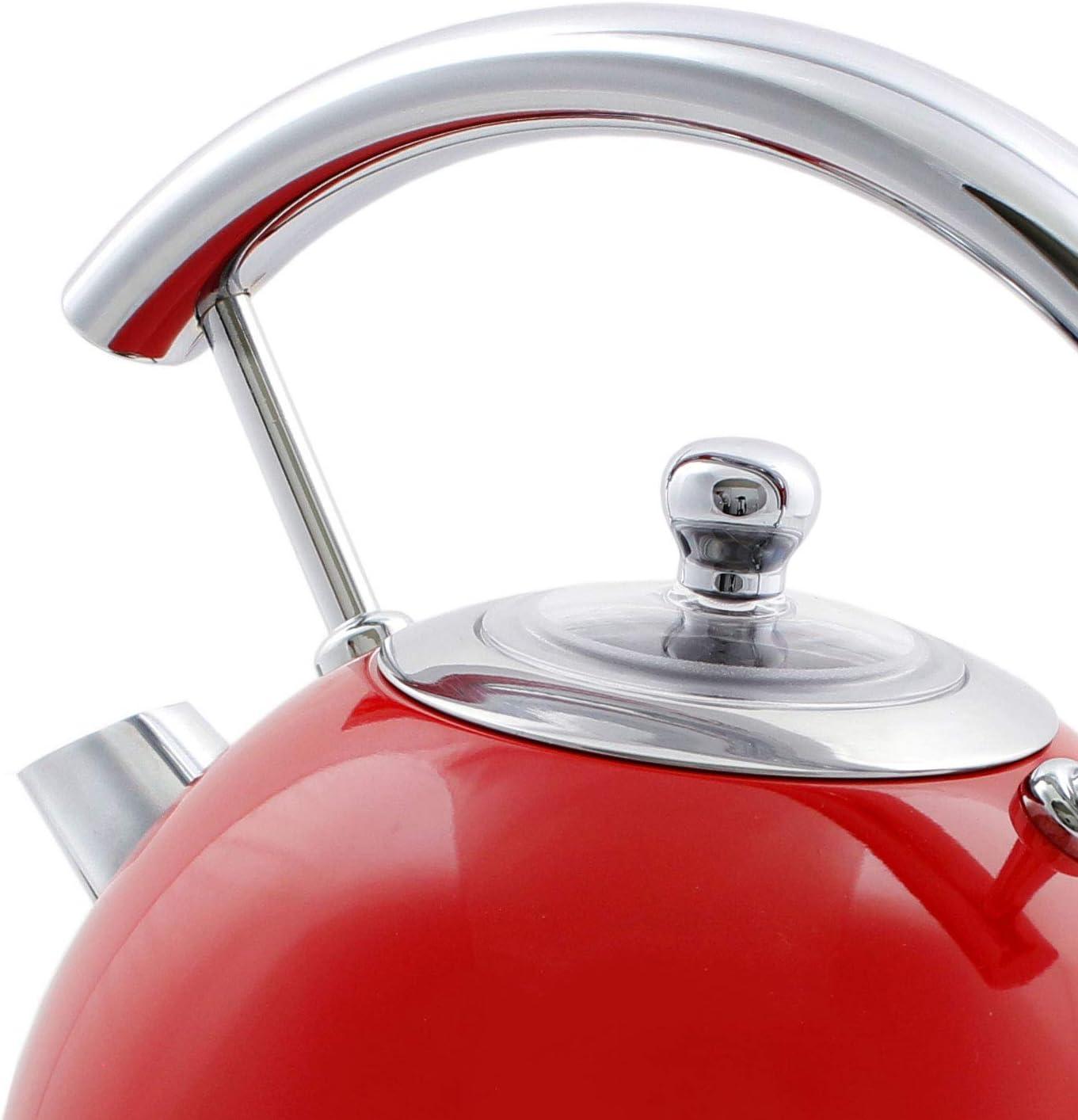 SCHNEIDER SL W 2 FR RETRO Wasserkocher 1,7 Liter Edelstahl SL-W2-FR SLW2FR ROT