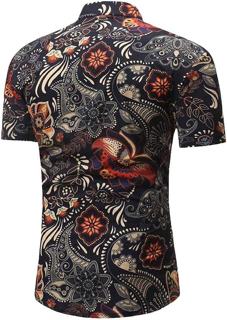 Luckycat Camisa De Manga Corta para Hombre Botón De Color SóLido Camisa Causal Blusa Superior Camisa Hawaiana Hombre Estampado Informal Playa Camisa Manga Corta de Vacaciones Camiseta Foral: Amazon.es: Ropa y accesorios