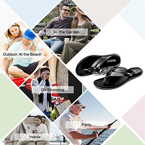 Image of BINSHUN Men Thong Sandals Flip Flops Lightweight Non-Slip Classic Beach Slippers