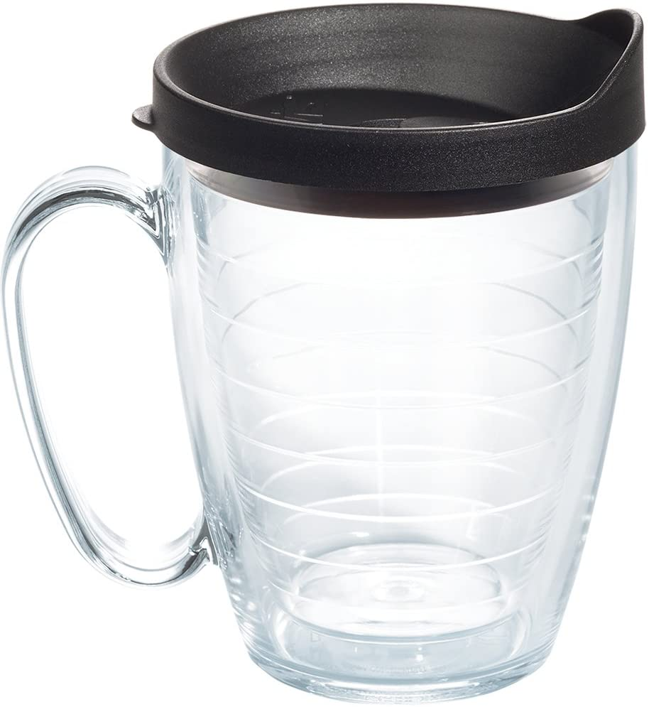 Tervis Clear & Colorful Mug Insulated Tumbler with Black Lid, 16 oz Tritan, Clear