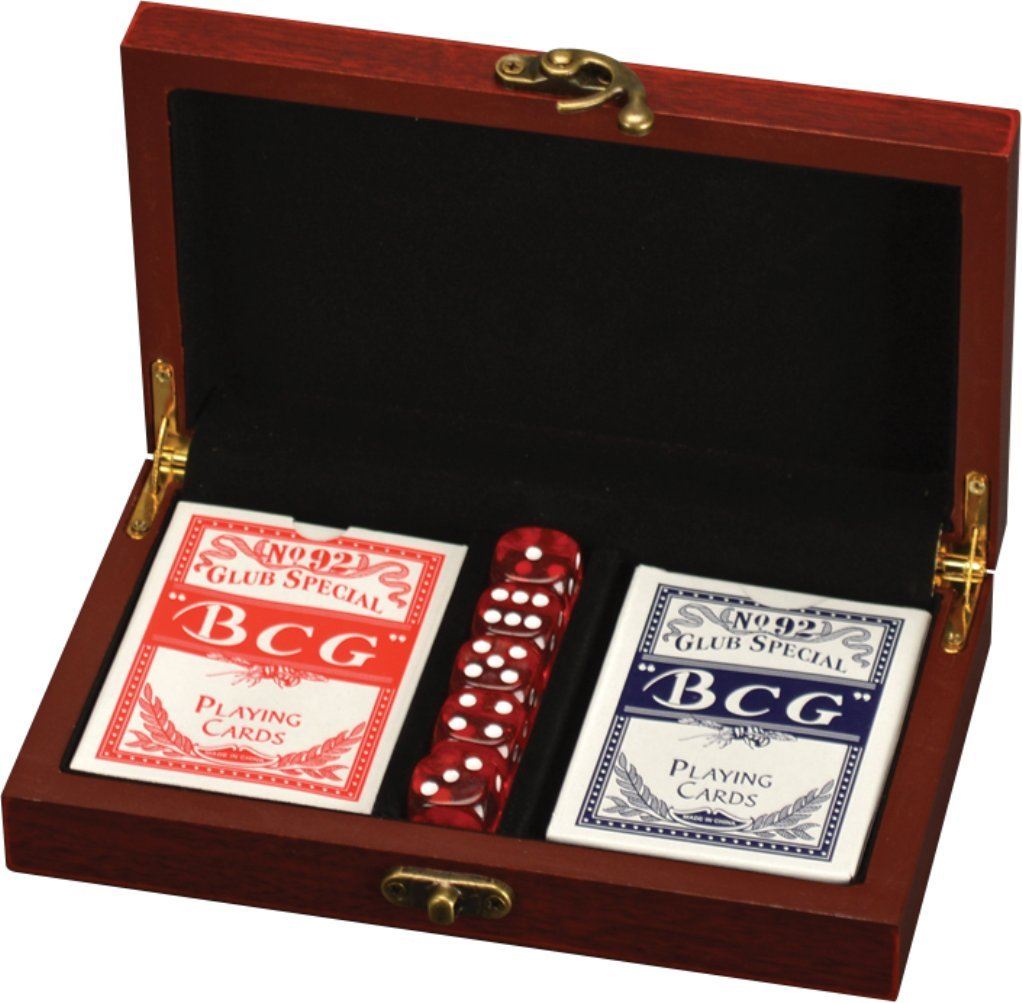 Card and Dice Set in Rosewood Box