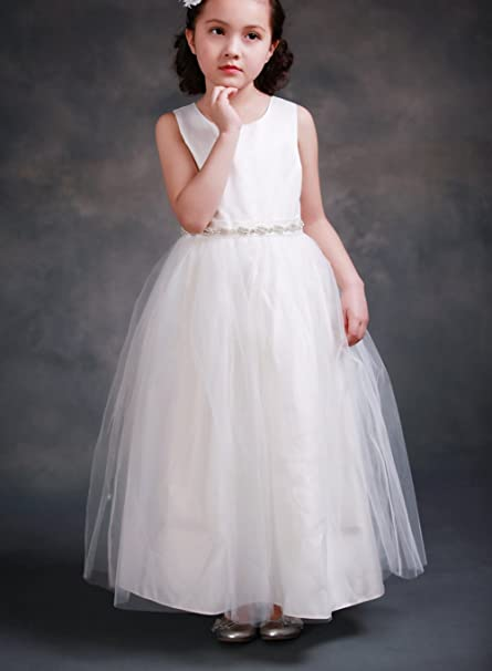 375d57ea6ac6 Amazon.com  FAYBOX Classy Wedding Flower Girl White Dresses First ...