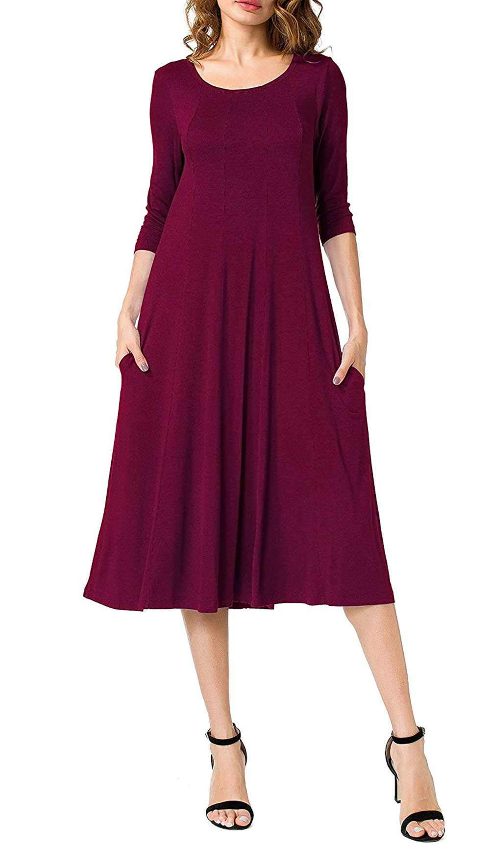 Women's Maxi Dress, Spring Autumn 3/4 Sleeve Solid Color Round Neck Casual Long Dresses (S, Wine red)