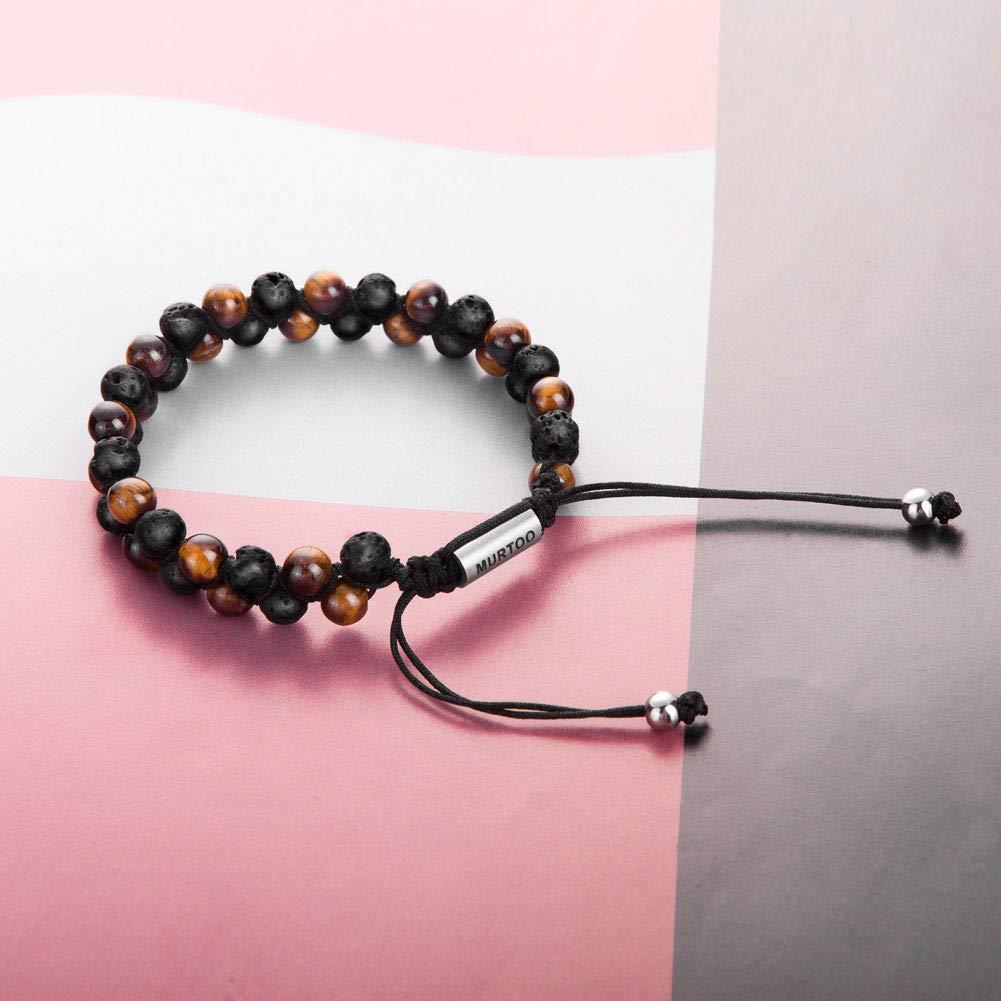 Bracelet en pierre naturelle pour les hommes Braceletr/églable de perlesavec huile essentielle Yoga comme Diffuser Bracelet pour hommes