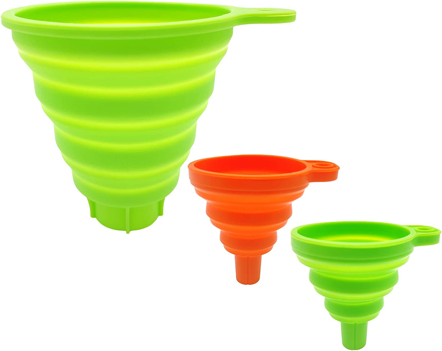 Kitchen Funnel Set of 3, Collapsible Funnels for Filling Bottles, Small Funnels for Liquid/Powder, Large Funnel for Canning,Jam and Spice Transfer,Food Grade Silicone Funnel for Cooking and Baking
