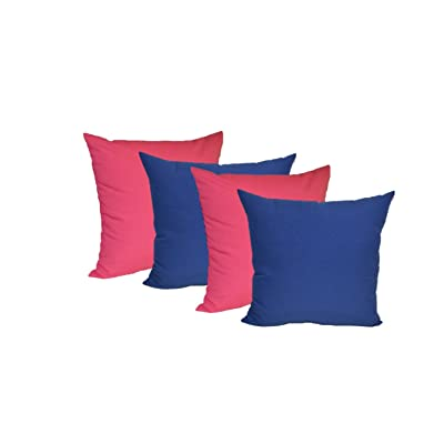 """Resort Spa Home Decor Set of 4 - Indoor/Outdoor 20"""" Square Decorative Throw/Toss Pillows - 2 Solid Hot Pink & 2 Solid Royal Blue: Kitchen & Dining"""