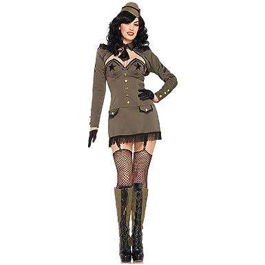 Leg Avenue Womenu0027s 5 Piece Pin Up Army Girl Costume Khaki Small  sc 1 st  Amazon.com & Amazon.com: Leg Avenue Womenu0027s 5 Piece Pin Up Army Girl Dress with ...