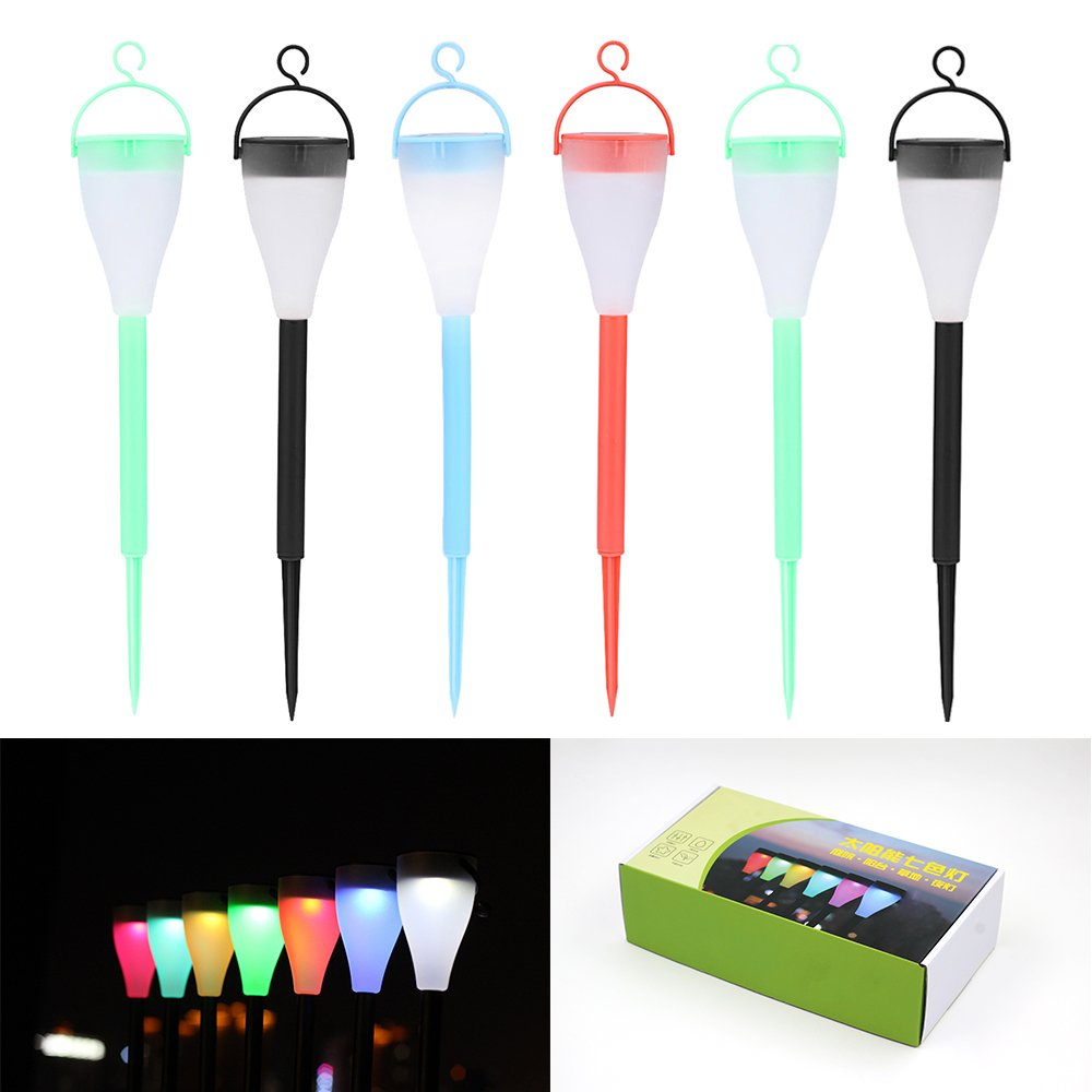 Solar Lights Outdoor,Pack of 6,7 LED colors can be set to replace,for Lawn,Patio,Yard,Walkway,Driveway,Pathway,Garden,Landscape,amazing atmosphere would be created to your place (red)