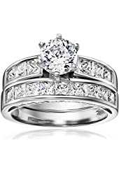 Platinum-Plated Sterling Silver and Cubic Zirconia Bridal Set