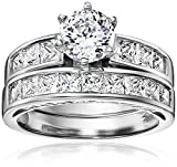 Platinum-Plated 925 Sterling Silver and AAA Cubic Zirconia Bridal Set