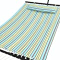 Songmics Garden Patio Hammock Quilted Fabric w' Detachable Pillow Wooden Spreader 2 Person Heavy-duty