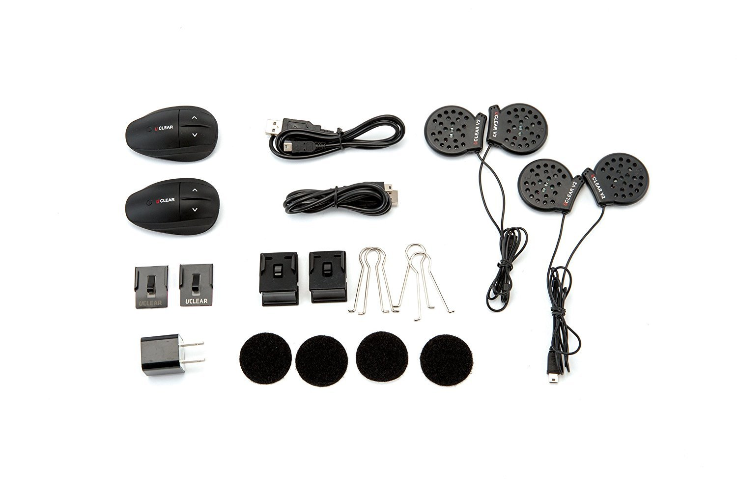 UCLEAR Digital HBC200 Force Bluetooth Helmet Audio System for Motorcycle, ATV, UTV, and other Powersports Helmets - Dual Kit