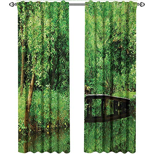 shenglv Tree, Curtains Set of 2, Deep in Forest Theme Woodsy Landscape Leaves and Bridge Foliage Lush Rural Scenery, Curtains Kids Bedroom, W72 x L96 Inch, Green Brown