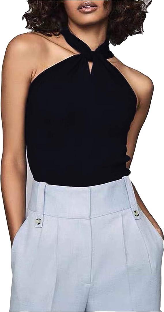 HOTLOOX Womens Halter Tank Tops Sleeveless Layered Chiffon Solid Spaghetti Strap Cami Shirts Casual Loose Blouse S-XXL