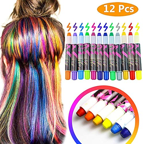 Hair Chalk, 12 Colorful Temporary Hair Color,Hair Chalk for Kids,Hair Chalk  Pens,Metallic Glitter Hair Coloring Chalk,Washable& Non-Toxic,Presents ...