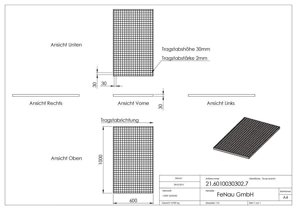 Ma/ße: 800 x 1000 x 30 mm m/² Radlast: 2,26 kN//Fl/ächenlast feuerverzinkt Materialst/ärke: 2 mm Gitterrost//Industrie-Rost//Garagen-Rost MW: 30//10 mm : 16,20 kN Fenau Stab-in-Stab Pressrost