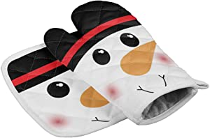 Crystal Emotion Kitchen Oven Mitts and Pot Holders Sets, Cute Cartoon Xmas Snowman Black Red Heat Resistant Oven Gloves and Potholders Hot Pads Set Non-Slip Mittens for Cooking BBQ Baking Grilling