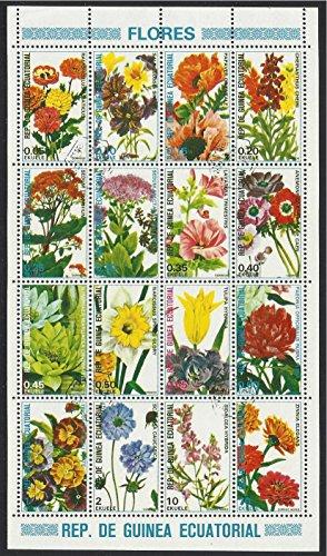 Equatorial Guinea Postage Stamps 1974 16v. Canceled Like New Minisheet Flowers Flora
